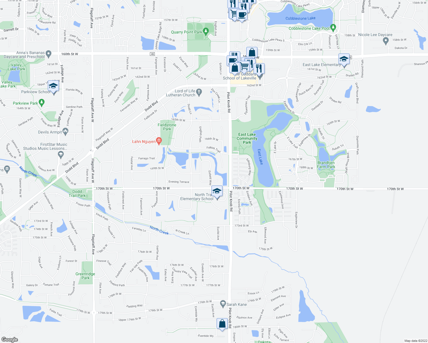 map of restaurants, bars, coffee shops, grocery stores, and more near in Lakeville