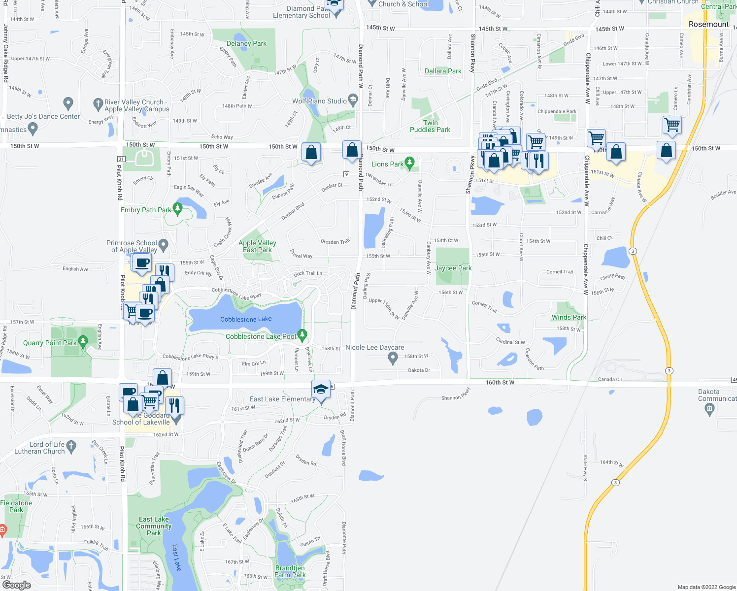 map of restaurants, bars, coffee shops, grocery stores, and more near 4451 Upper 156th Street West in Rosemount