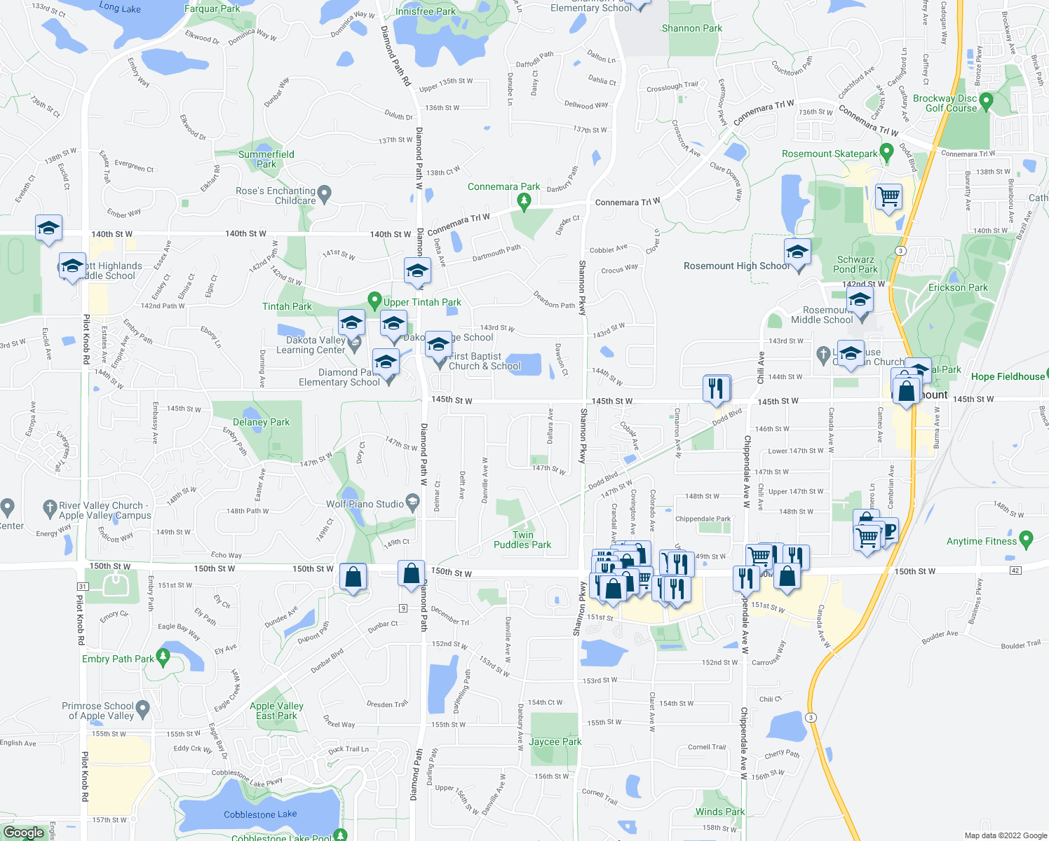map of restaurants, bars, coffee shops, grocery stores, and more near 14540 Danbury Avenue West in Rosemount
