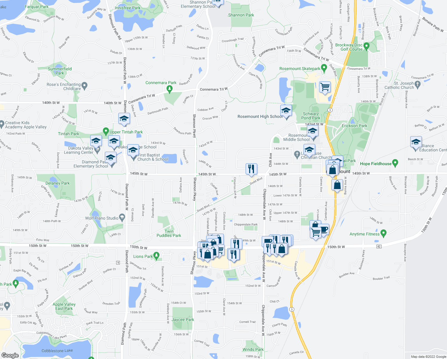 map of restaurants, bars, coffee shops, grocery stores, and more near 3810 145th Street West in Rosemount