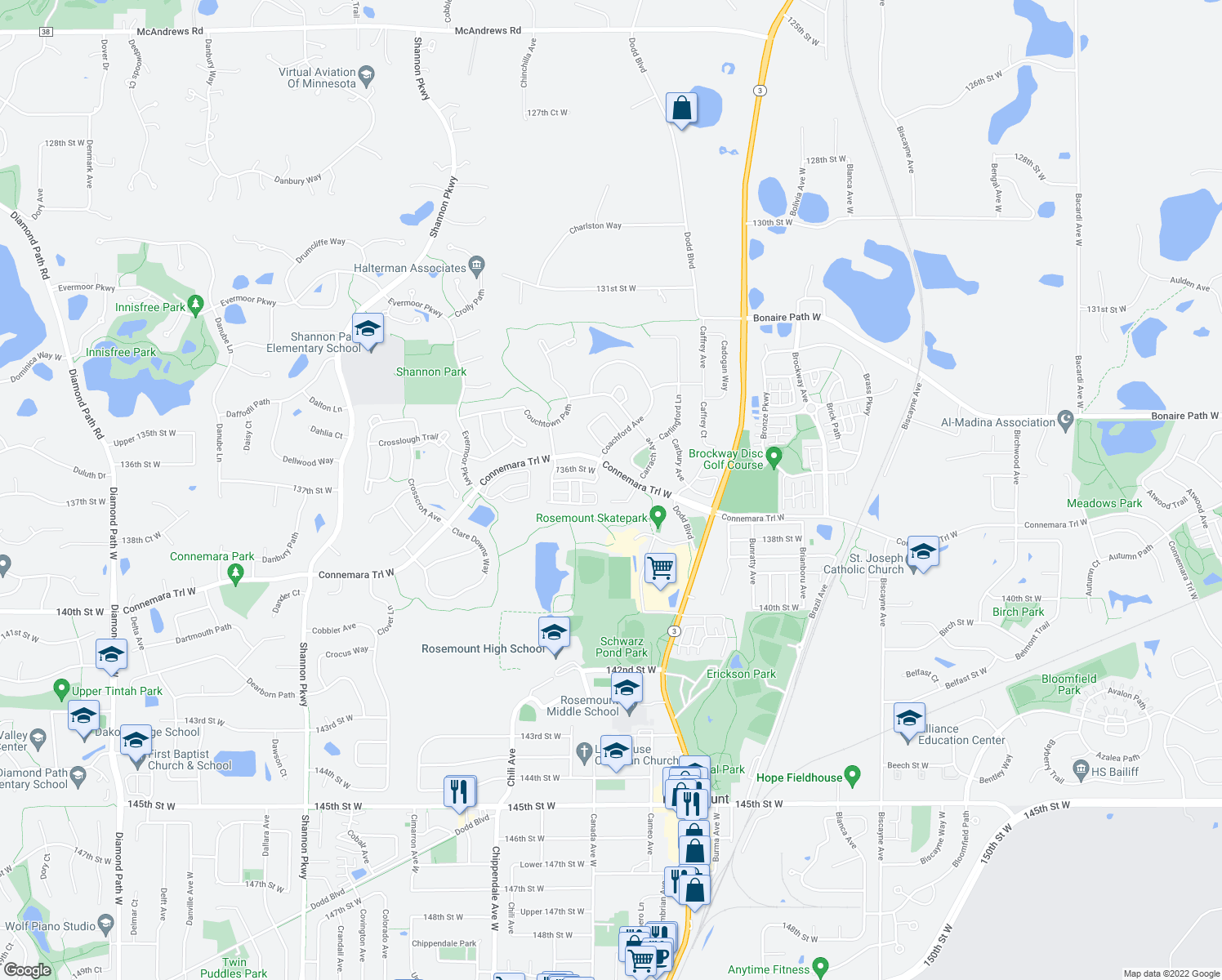 map of restaurants, bars, coffee shops, grocery stores, and more near in Rosemount