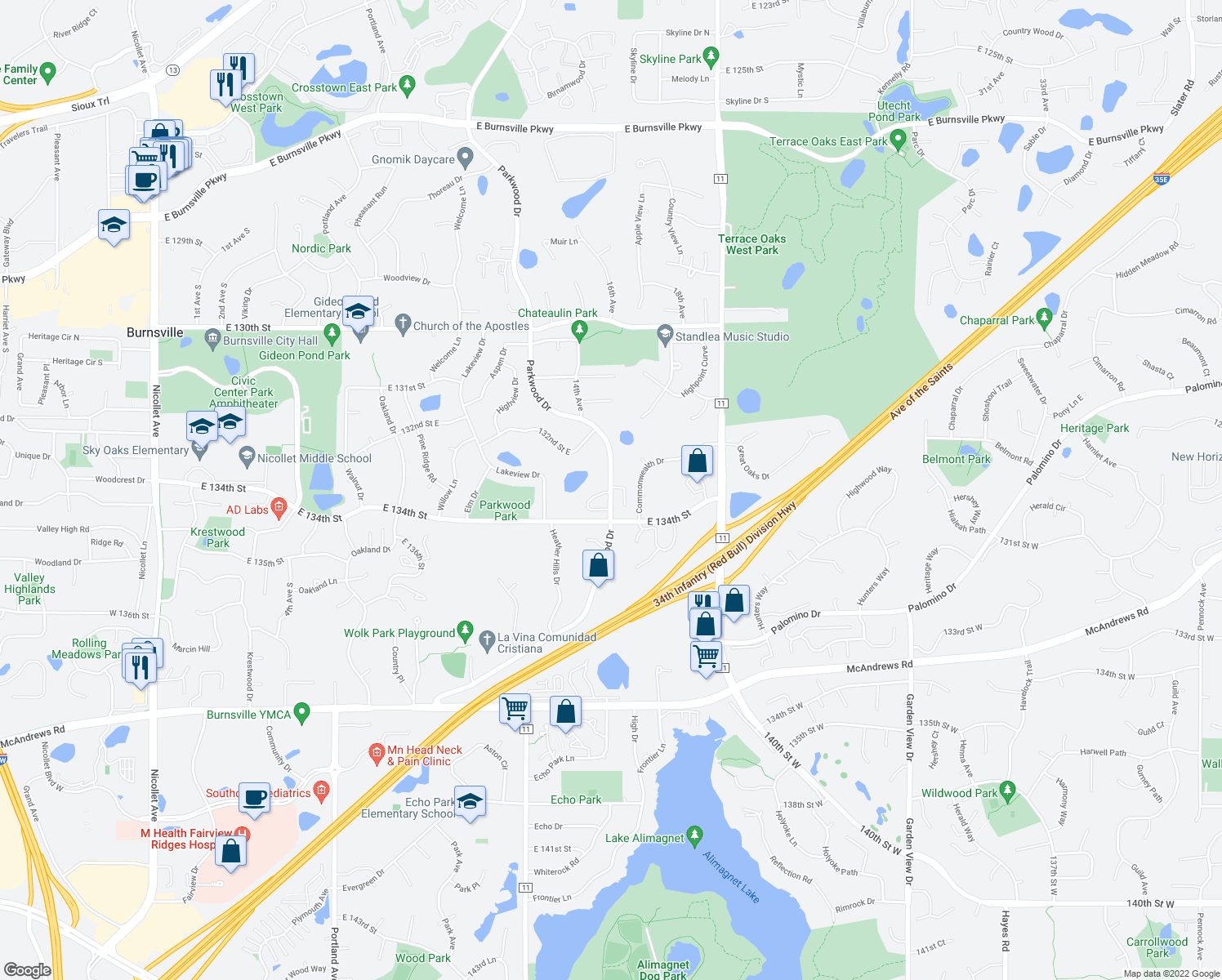 map of restaurants, bars, coffee shops, grocery stores, and more near 13313 Parkwood Dr in Burnsville