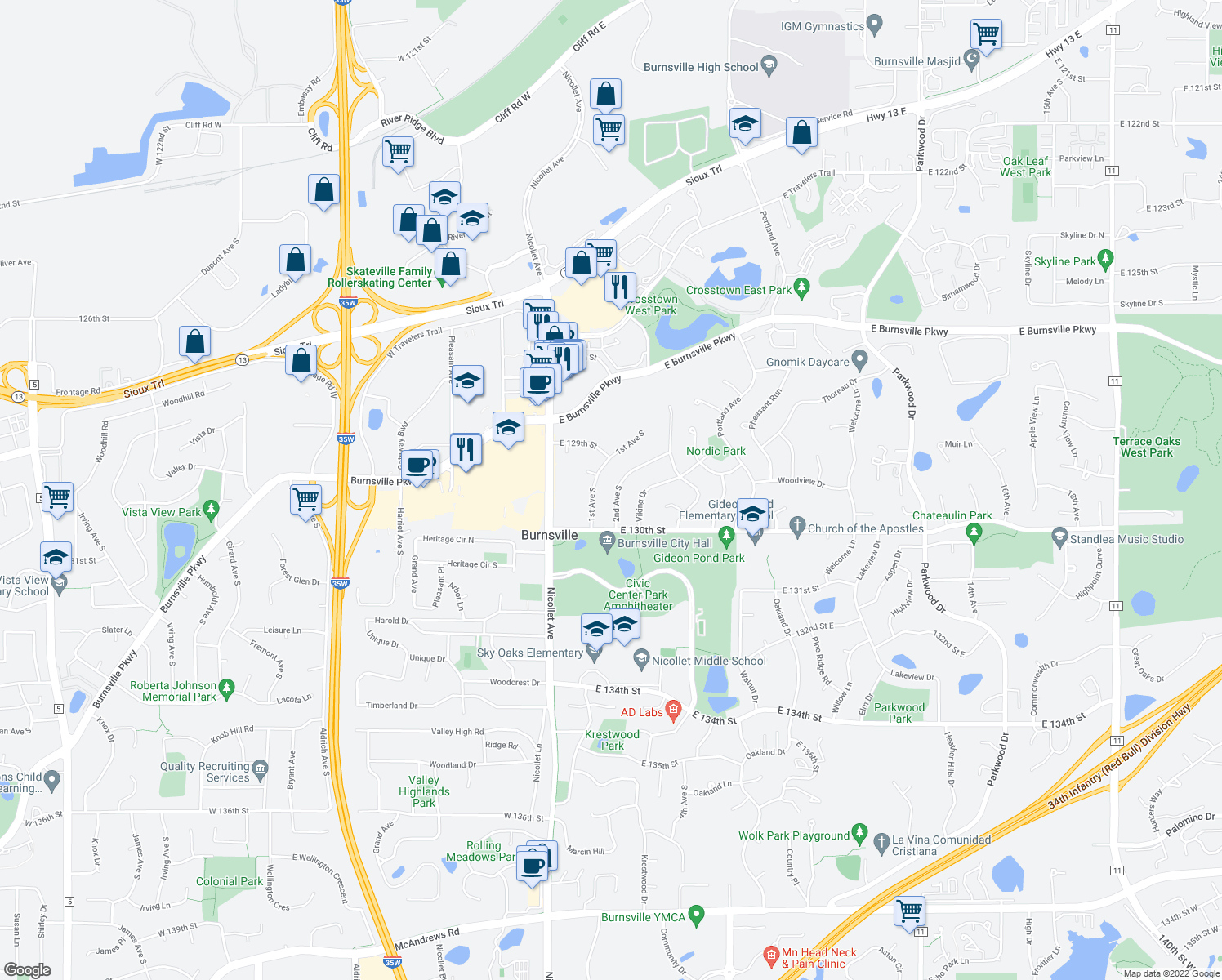 map of restaurants, bars, coffee shops, grocery stores, and more near 12940 2nd Avenue South in Burnsville