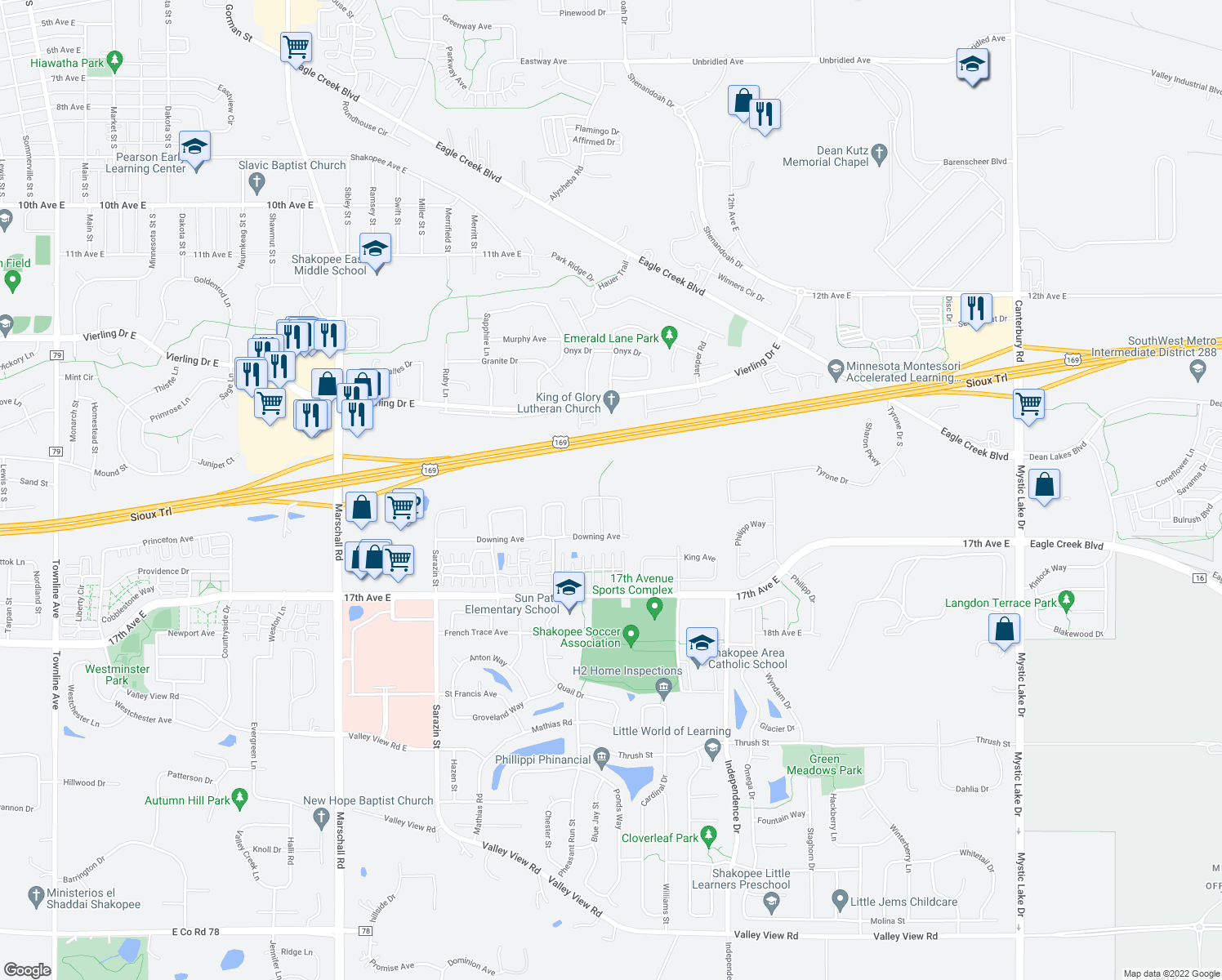 map of restaurants, bars, coffee shops, grocery stores, and more near 1565 Balinese Street in Shakopee