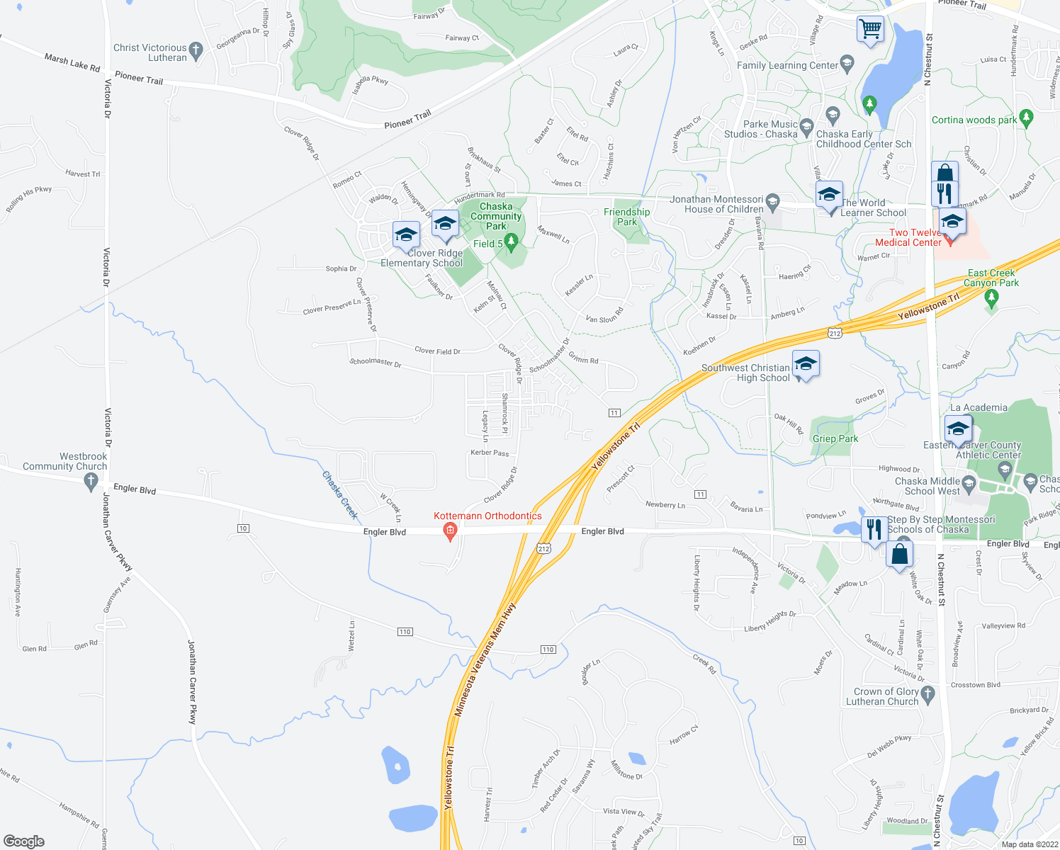 map of restaurants, bars, coffee shops, grocery stores, and more near 909 Braunworth Court in Chaska