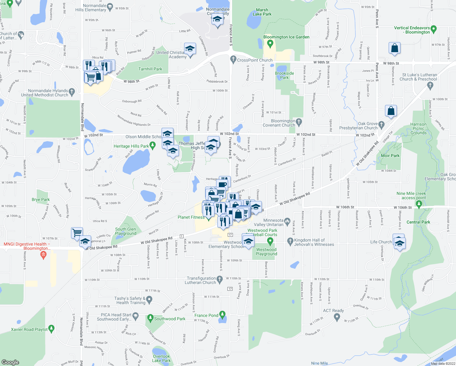 map of restaurants, bars, coffee shops, grocery stores, and more near 3917 Heritage Hills Drive in Bloomington