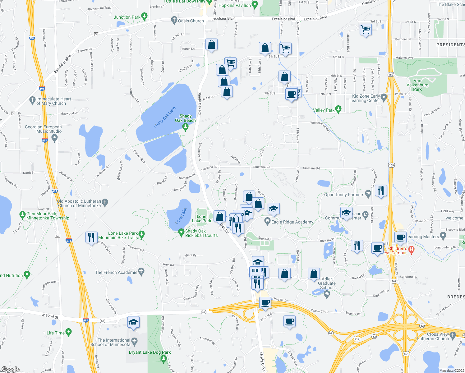map of restaurants, bars, coffee shops, grocery stores, and more near 5514 Pompano Dr in Hopkins