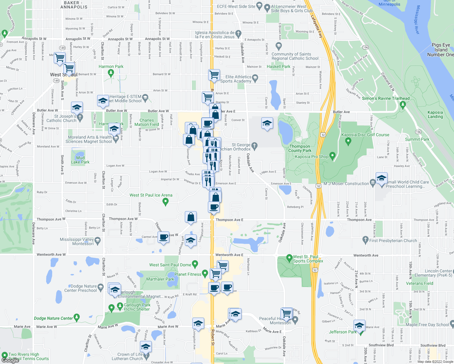 map of restaurants, bars, coffee shops, grocery stores, and more near 153 Emerson Ave E in St Paul