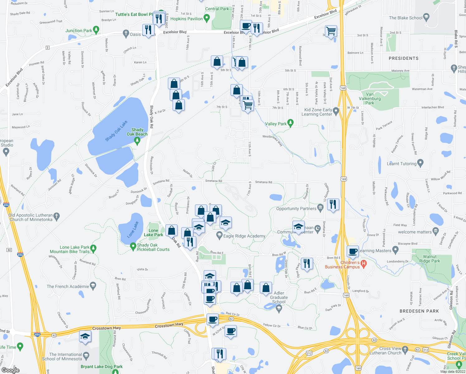 map of restaurants, bars, coffee shops, grocery stores, and more near 10601 Smetana Road in Hopkins
