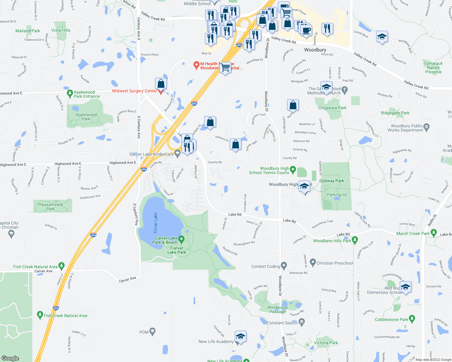 map of restaurants, bars, coffee shops, grocery stores, and more near 2572 Copper Cliff Trail in Woodbury
