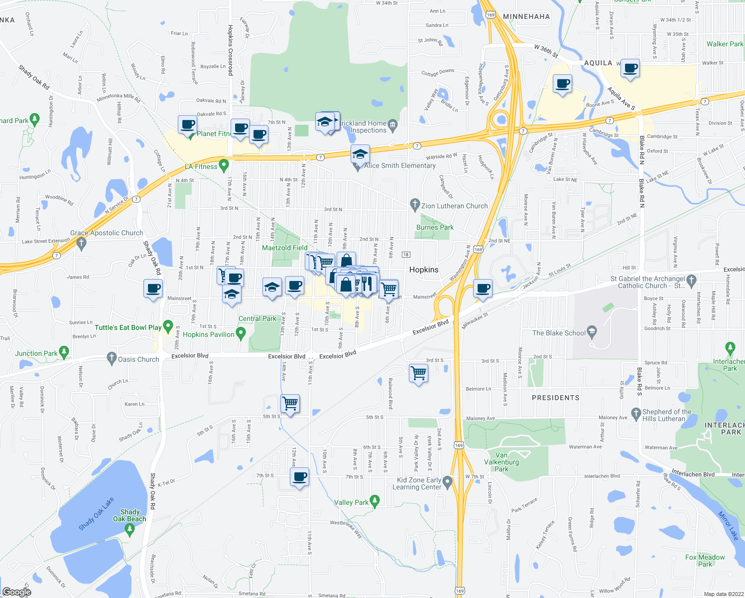 map of restaurants, bars, coffee shops, grocery stores, and more near 19 8th Ave N in Hopkins