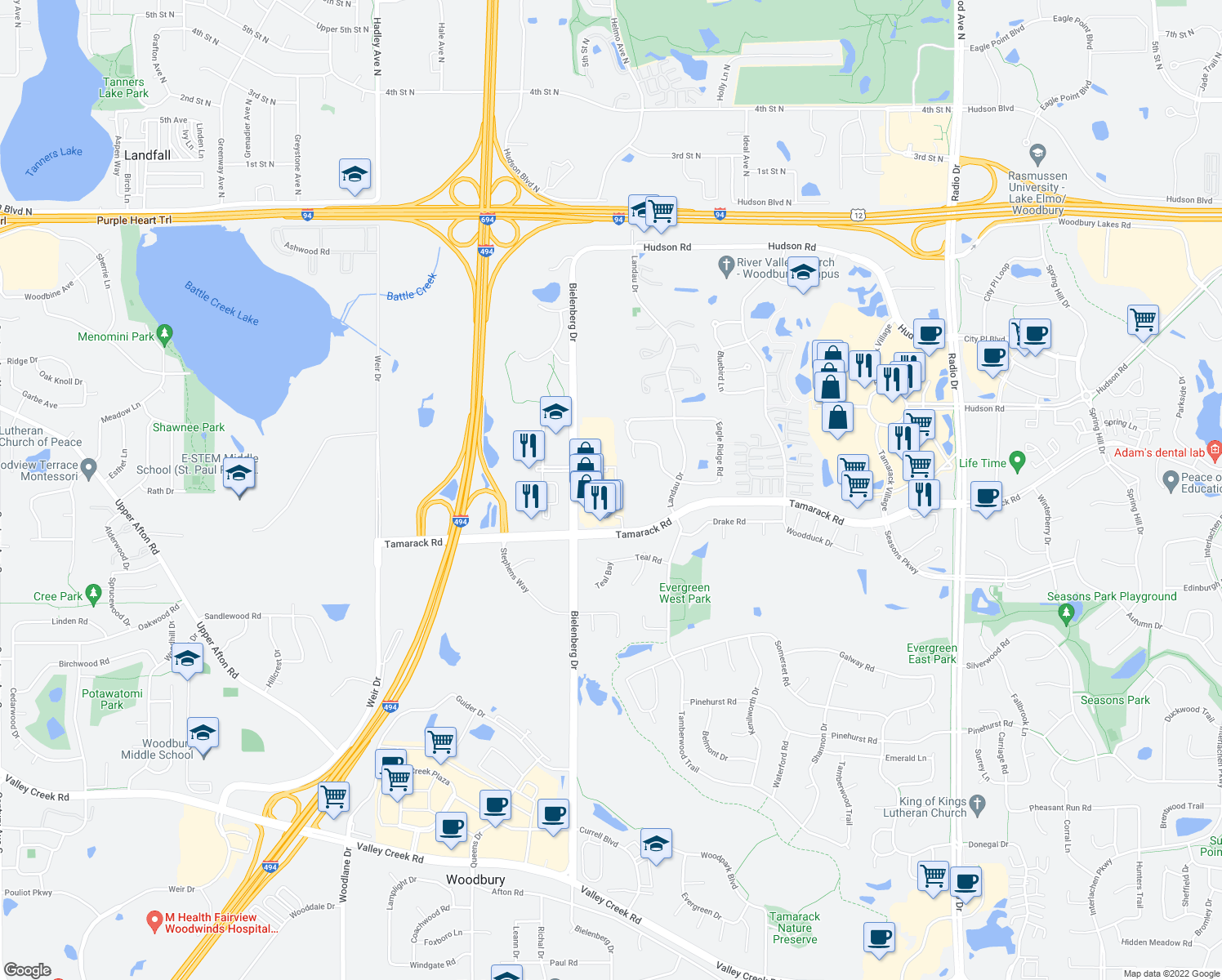 map of restaurants, bars, coffee shops, grocery stores, and more near 731 Bielenberg Drive in Saint Paul