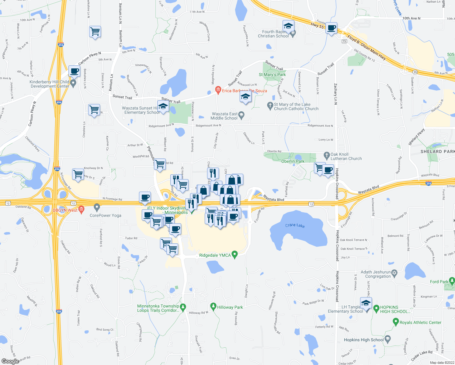 map of restaurants, bars, coffee shops, grocery stores, and more near 12300 Marion Ln in Minnetonka