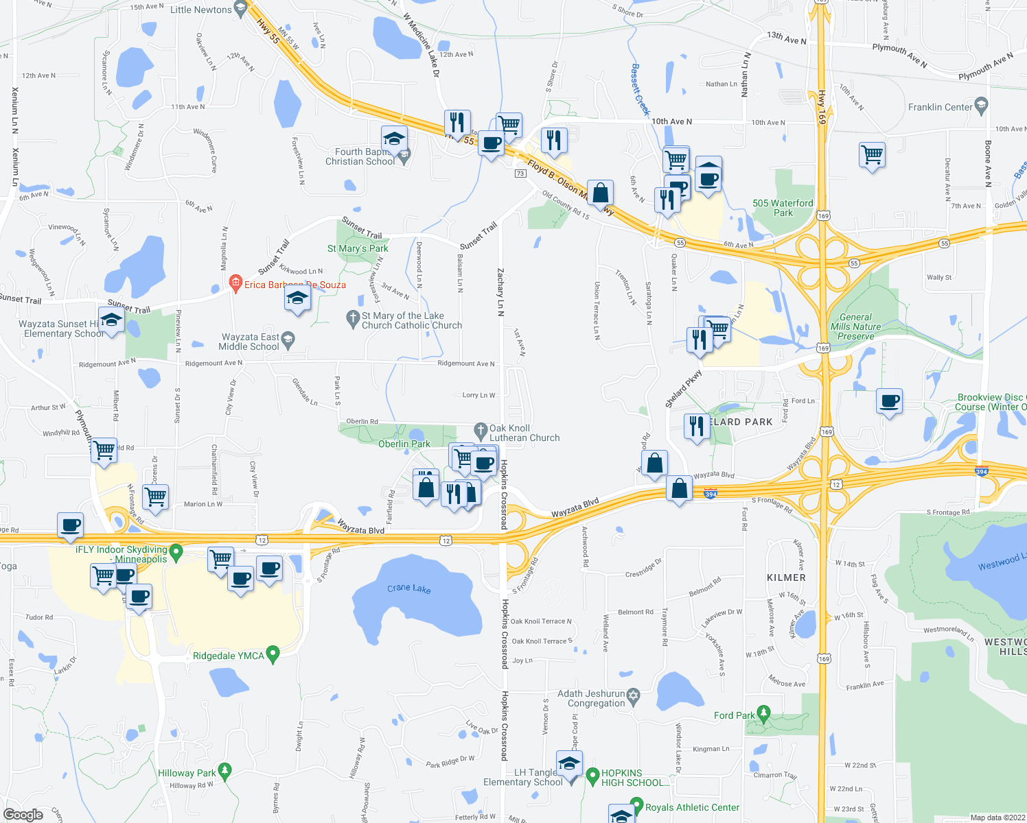 map of restaurants, bars, coffee shops, grocery stores, and more near 450 Willoughby Way W in Minnetonka