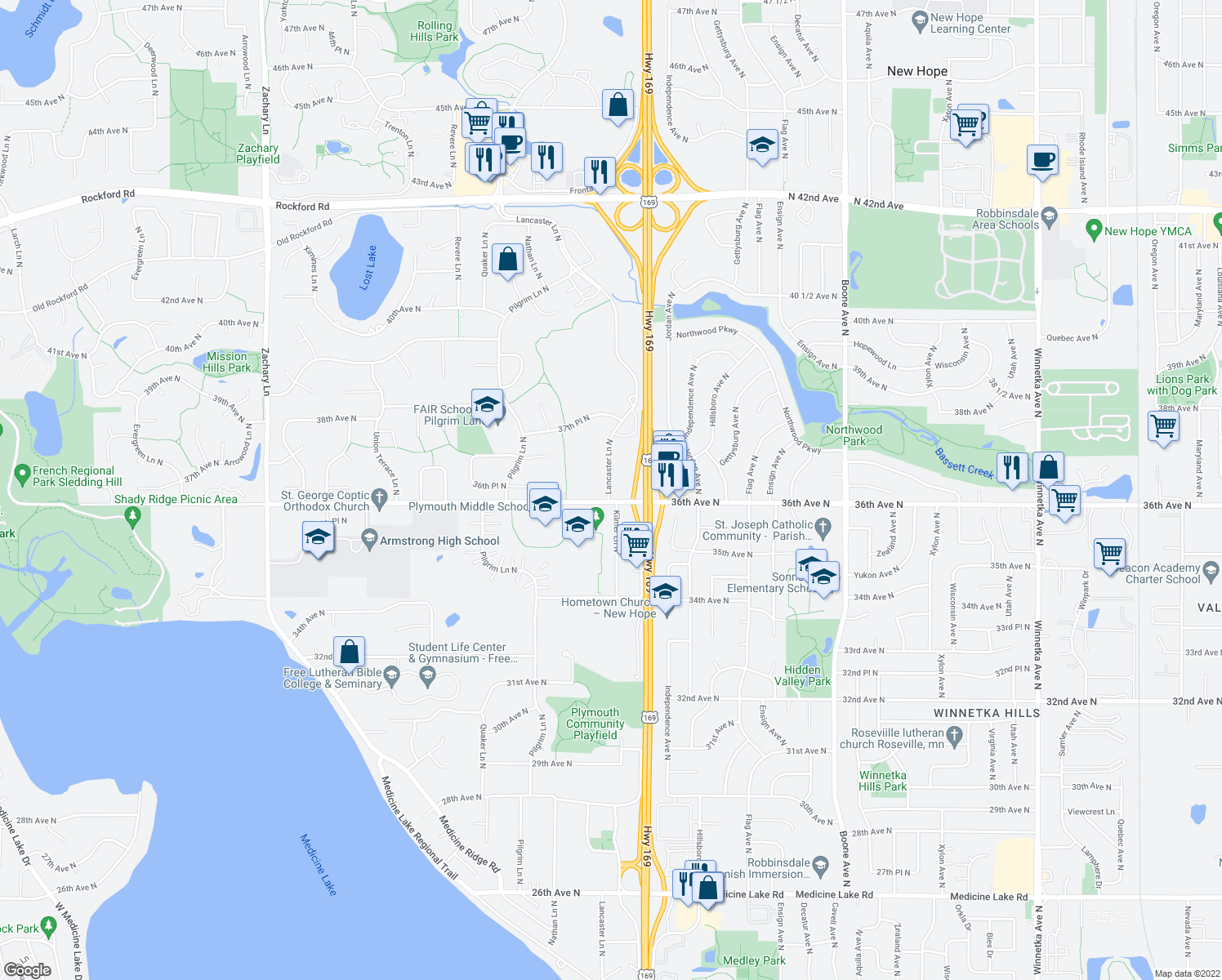 map of restaurants, bars, coffee shops, grocery stores, and more near Medicine Lake Regional Trail in Plymouth