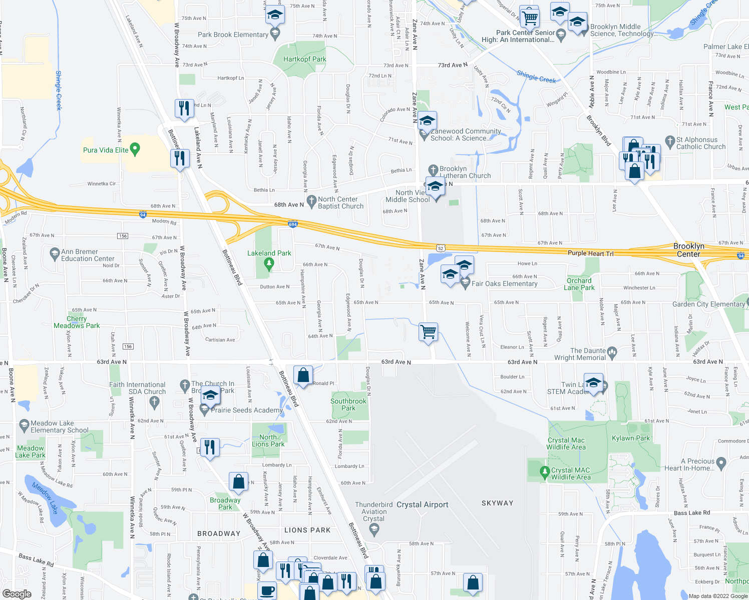 map of restaurants, bars, coffee shops, grocery stores, and more near 6516 Douglas Drive North in Minneapolis