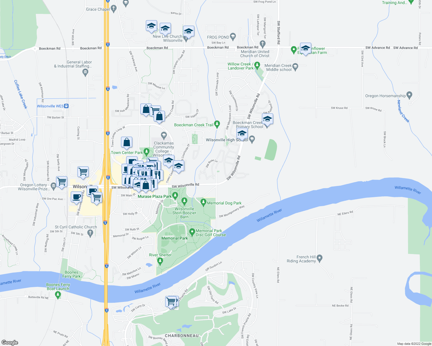 map of restaurants, bars, coffee shops, grocery stores, and more near 7355 Southwest Wilsonville Road in Wilsonville