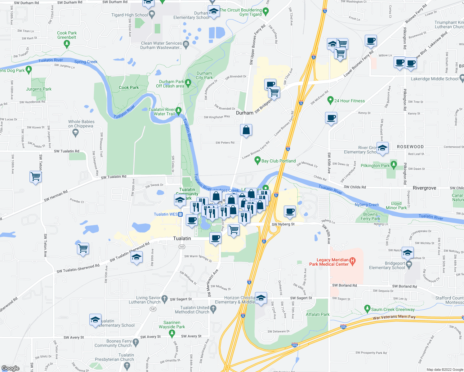 map of restaurants, bars, coffee shops, grocery stores, and more near in Durham