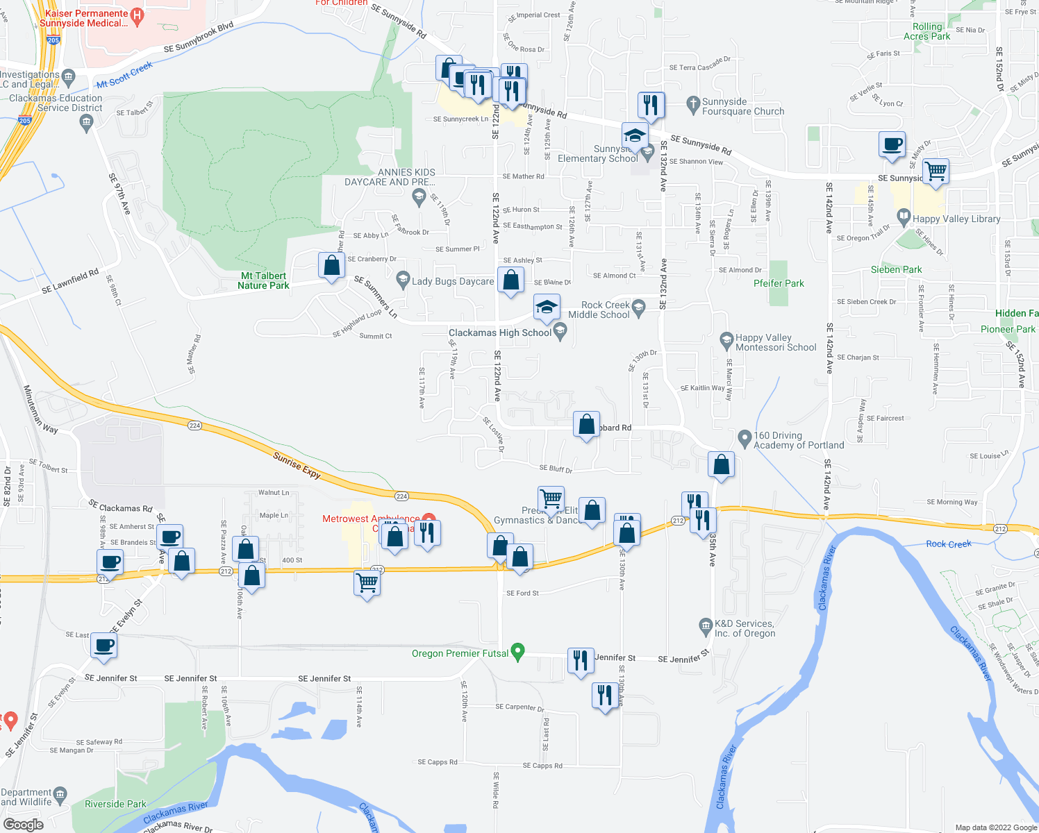 map of restaurants, bars, coffee shops, grocery stores, and more near 12301 Southeast Hubbard Road in Clackamas