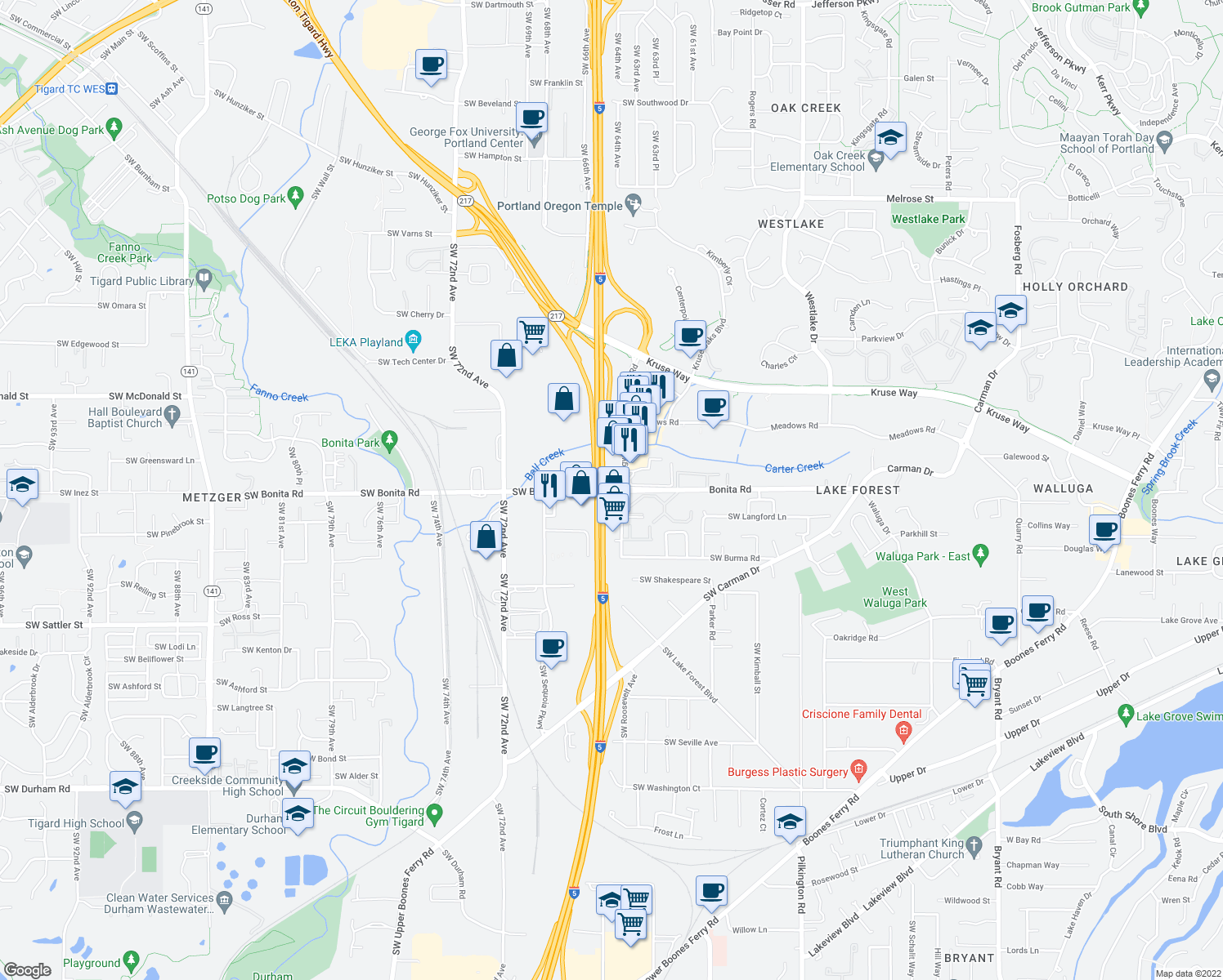 map of restaurants, bars, coffee shops, grocery stores, and more near 6142 SW Bonita Rd in Lake Oswego