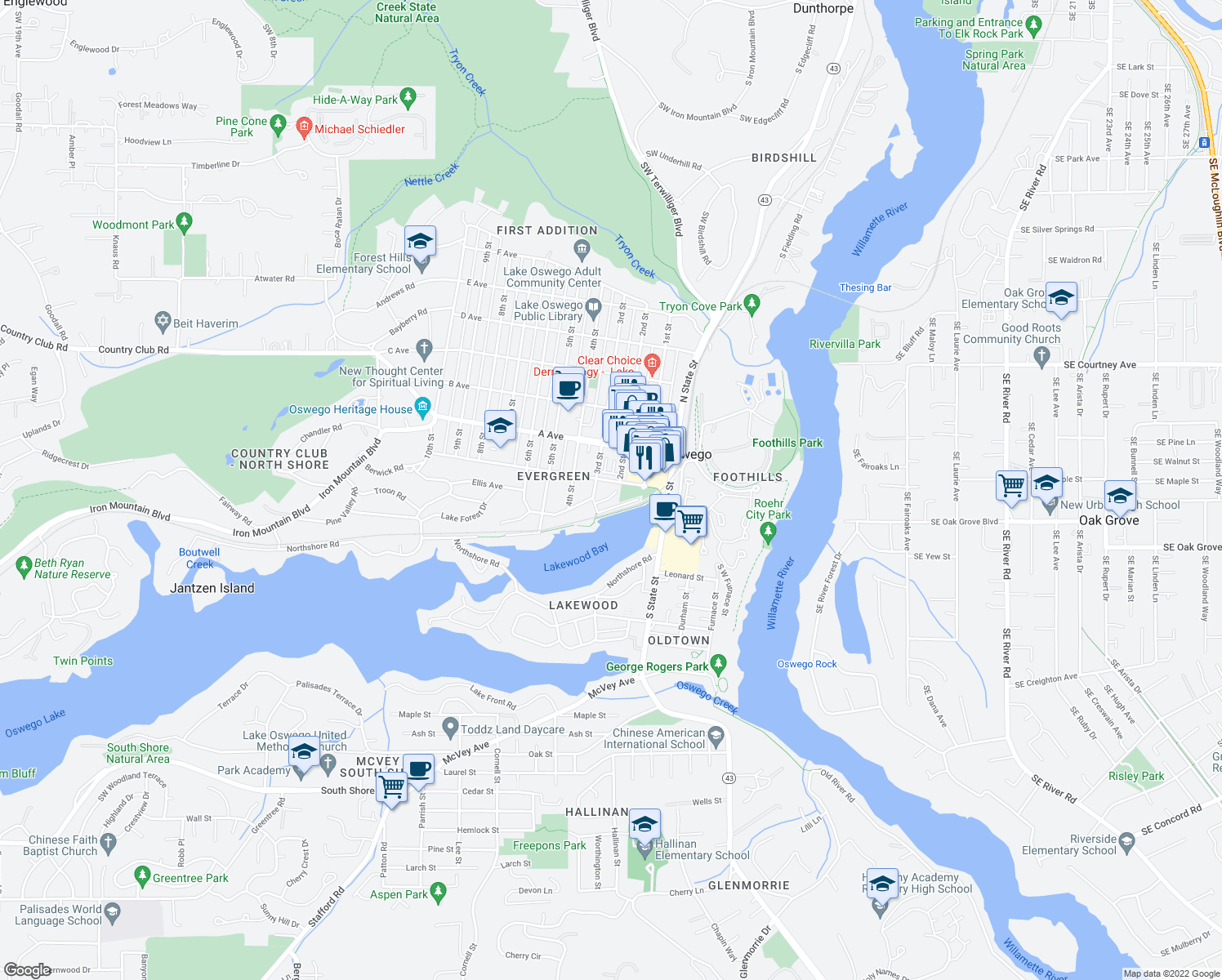map of restaurants, bars, coffee shops, grocery stores, and more near 250 Evergreen Road in Lake Oswego