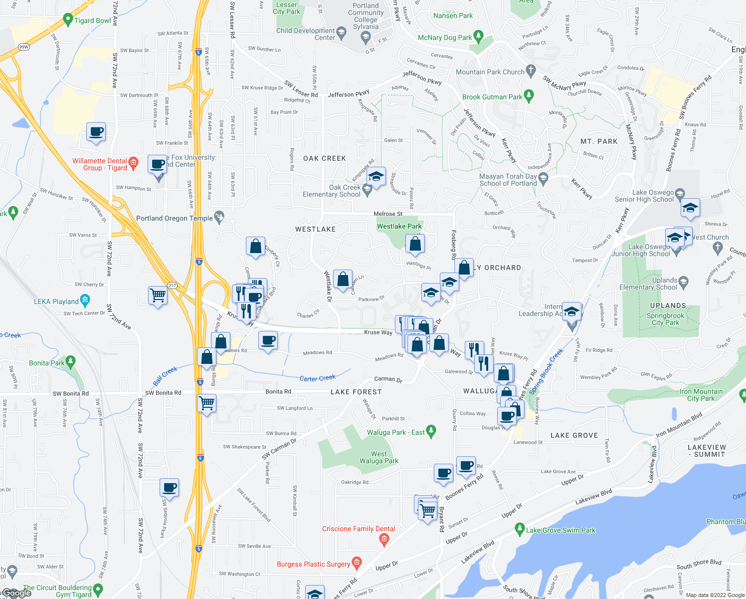 map of restaurants, bars, coffee shops, grocery stores, and more near 5009 Greensborough Ct in Lake Oswego