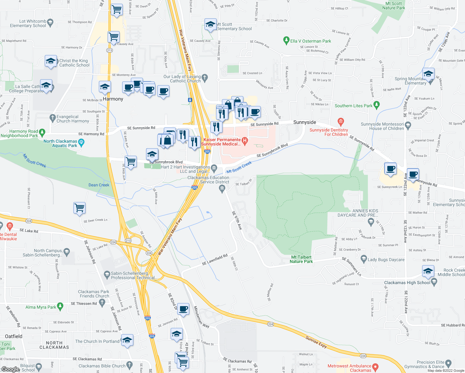 map of restaurants, bars, coffee shops, grocery stores, and more near 9754-9762 Southeast Talbert Street in Clackamas