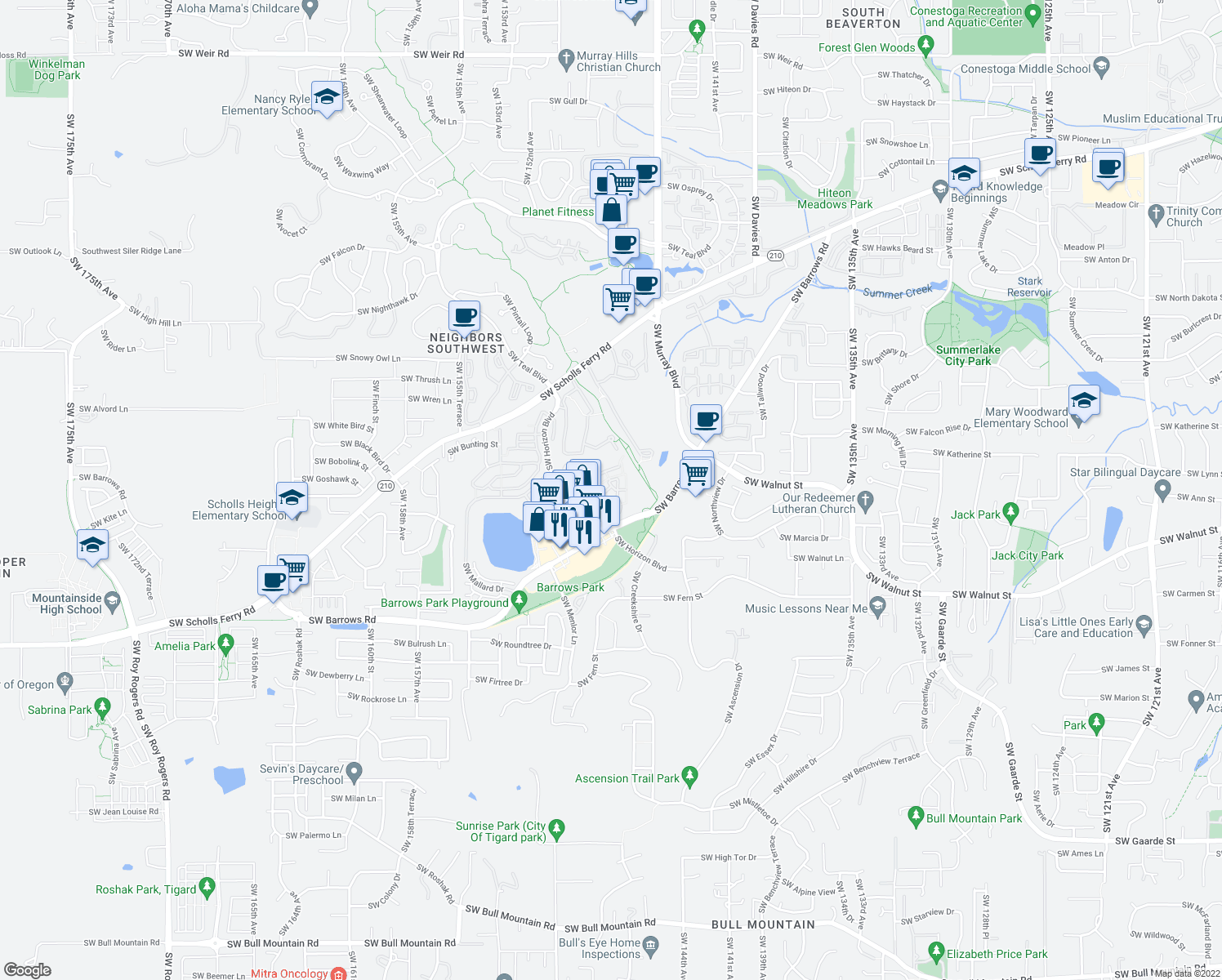map of restaurants, bars, coffee shops, grocery stores, and more near 12230 Southwest Horizon Boulevard in Beaverton