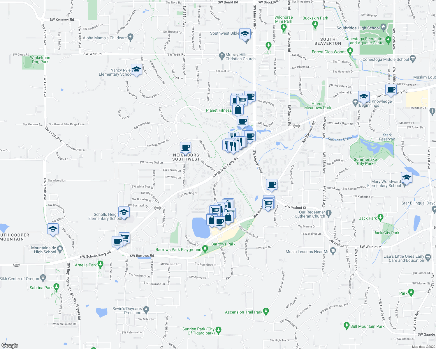 map of restaurants, bars, coffee shops, grocery stores, and more near 14910-15322 State Highway 210 in Beaverton