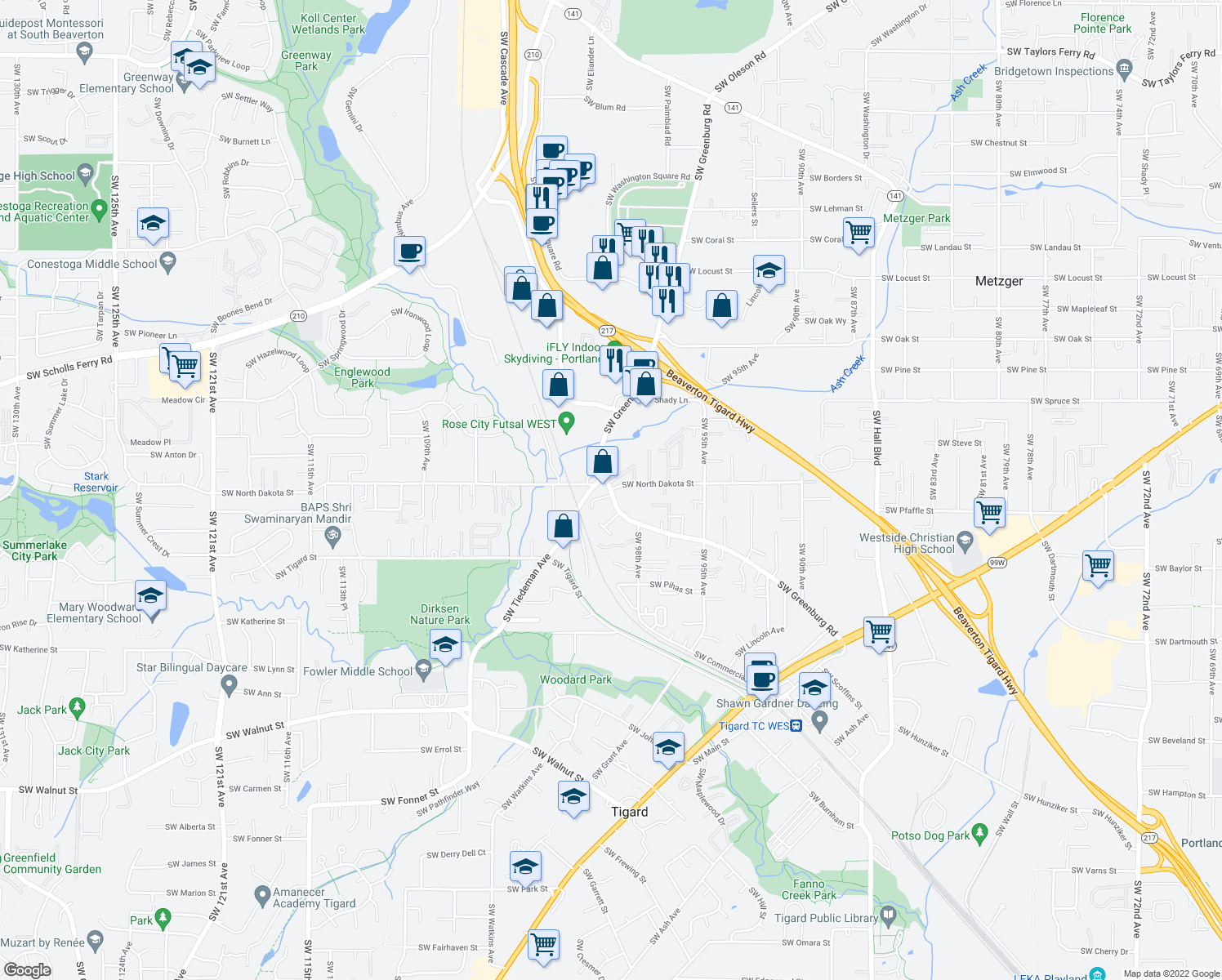 map of restaurants, bars, coffee shops, grocery stores, and more near SW Greenburg Rd & SW North Dakota St in Tigard