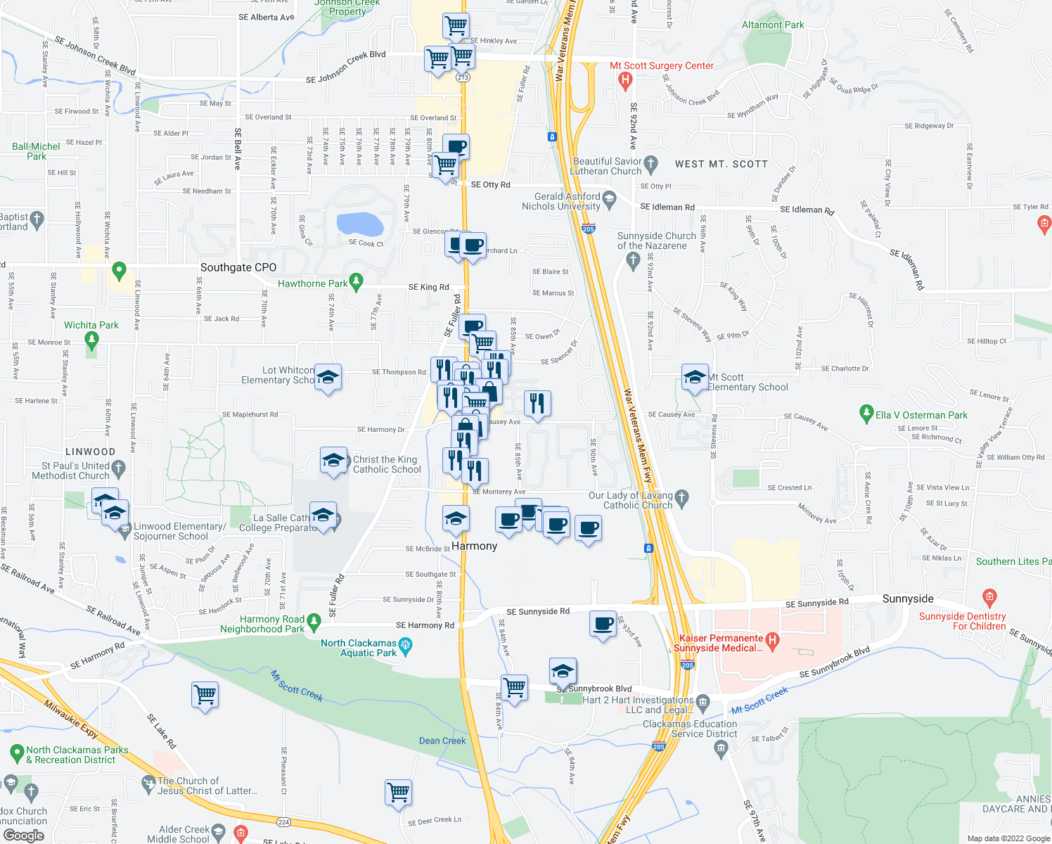 map of restaurants, bars, coffee shops, grocery stores, and more near Southeast 85th Avenue in Happy Valley