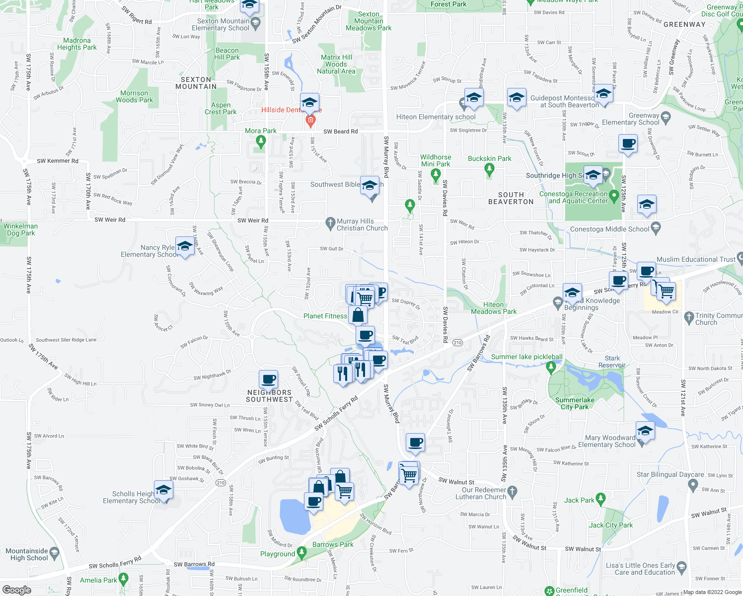 map of restaurants, bars, coffee shops, grocery stores, and more near 14572-14636 Southwest Osprey Drive in Beaverton