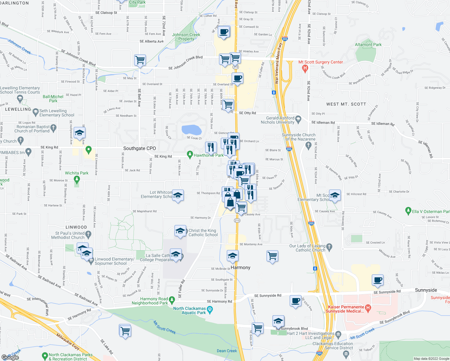 map of restaurants, bars, coffee shops, grocery stores, and more near 8049 Southeast Monroe Street in Portland