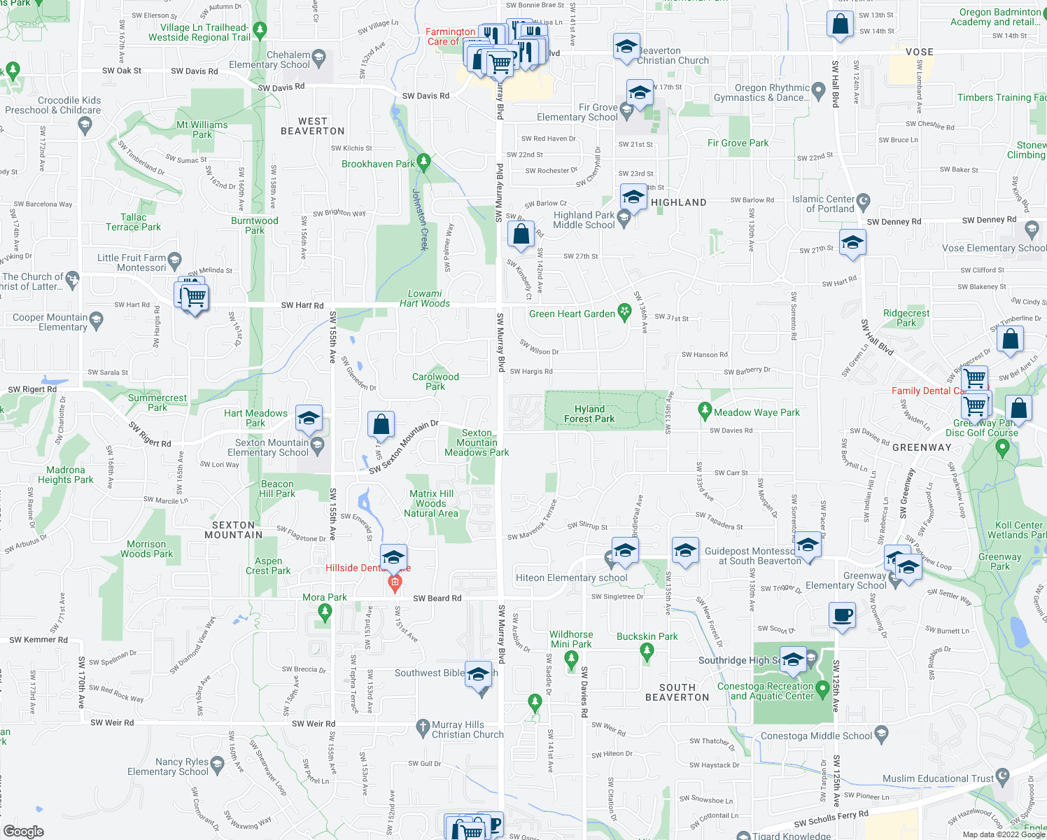 map of restaurants, bars, coffee shops, grocery stores, and more near 14315 Southwest Sexton Mountain Drive in Beaverton
