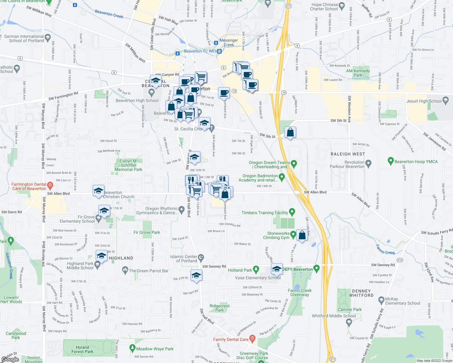 map of restaurants, bars, coffee shops, grocery stores, and more near 5850 Southwest Lombard Avenue in Beaverton