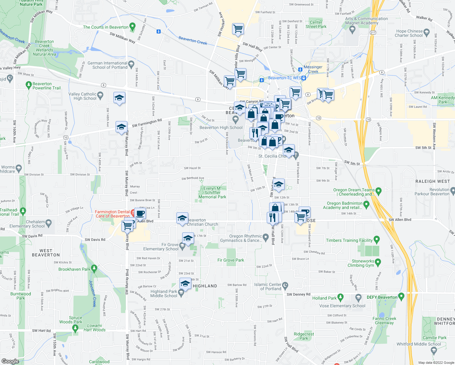 map of restaurants, bars, coffee shops, grocery stores, and more near 5475 Southwest Erickson Avenue in Beaverton