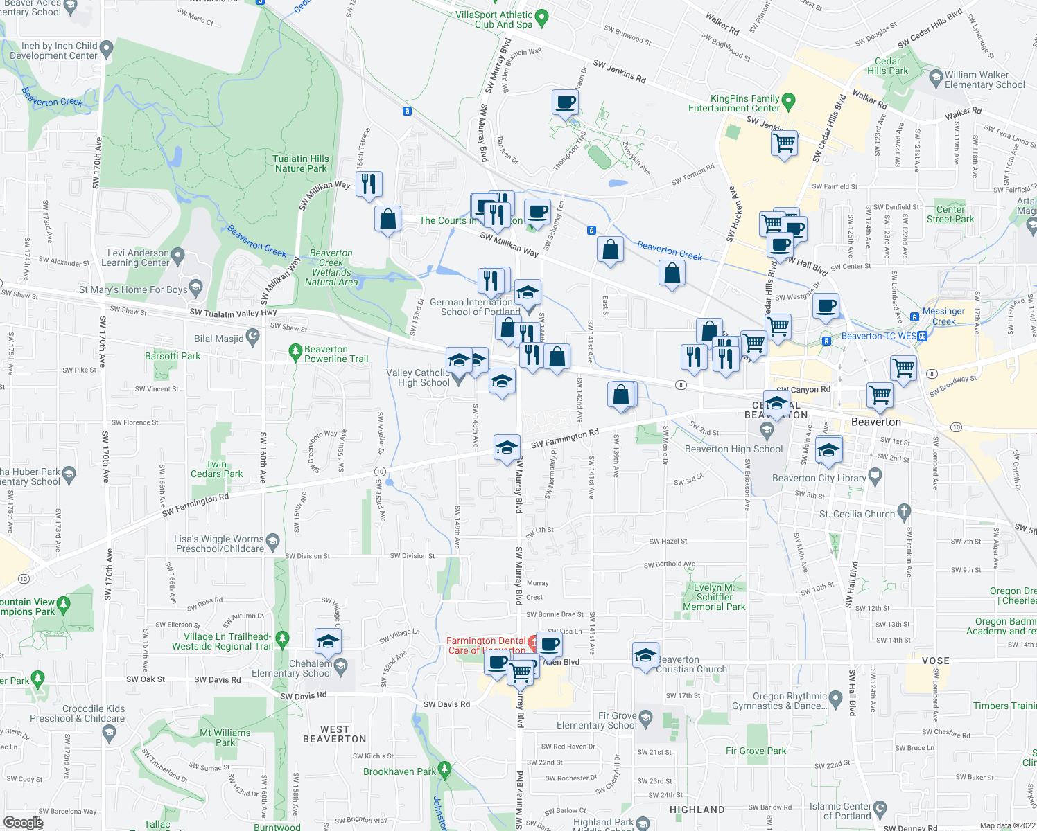map of restaurants, bars, coffee shops, grocery stores, and more near 4550 Southwest Murray Boulevard in Beaverton