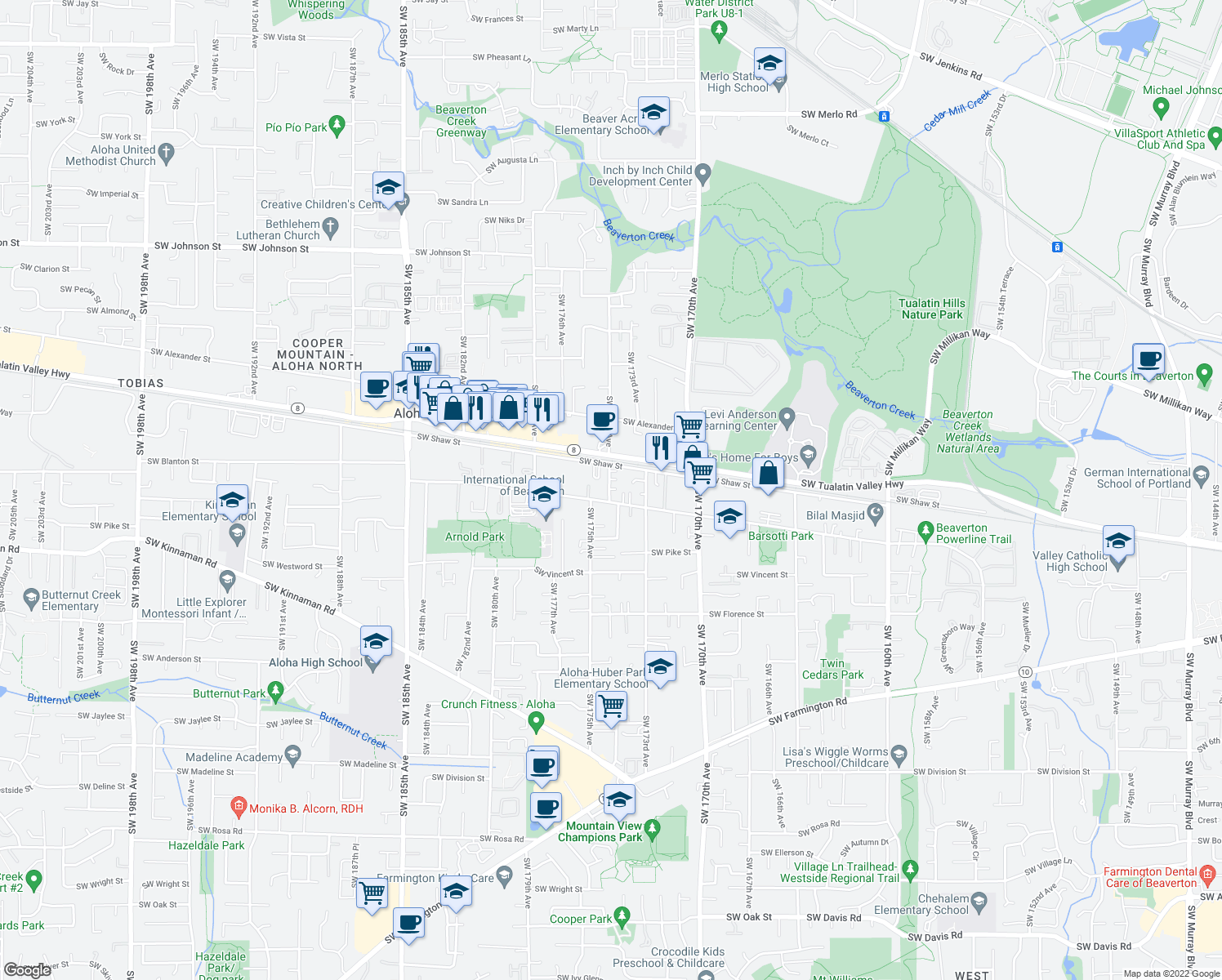 map of restaurants, bars, coffee shops, grocery stores, and more near 17361 SW Carson Ct in Beaverton