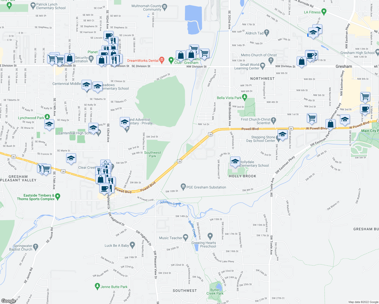 map of restaurants, bars, coffee shops, grocery stores, and more near 2653-2777 W Powell Blvd in Gresham