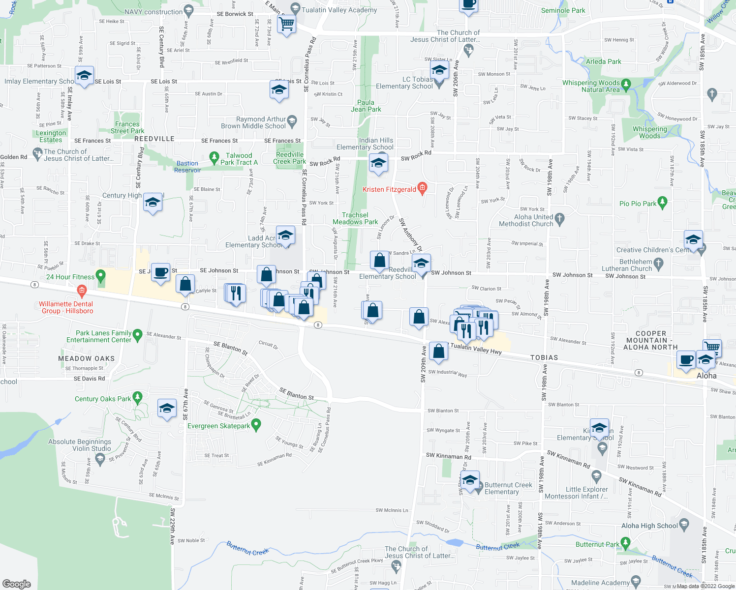 map of restaurants, bars, coffee shops, grocery stores, and more near 21440 Southwest Clarion Street in Beaverton