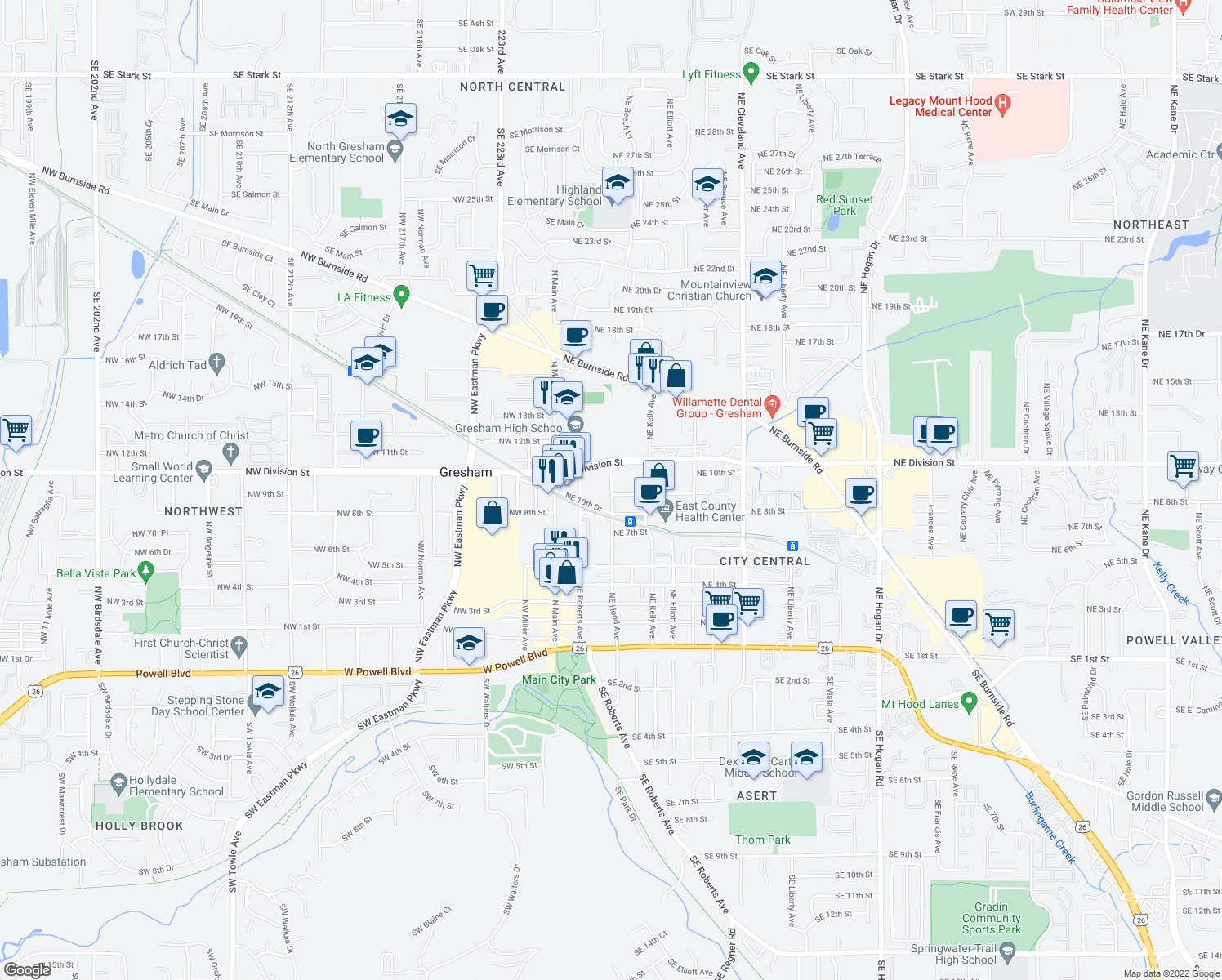 map of restaurants, bars, coffee shops, grocery stores, and more near 933 Northeast Hood Avenue in Gresham