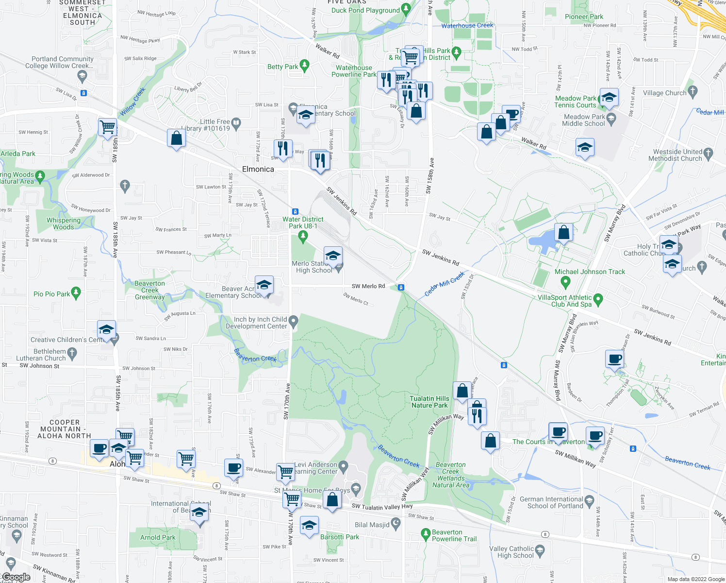 map of restaurants, bars, coffee shops, grocery stores, and more near 16499 SW Merlo Rd in Beaverton