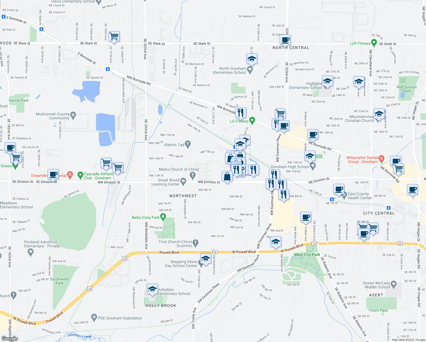 map of restaurants, bars, coffee shops, grocery stores, and more near 1029-1169 Northwest Wallula Avenue in Gresham