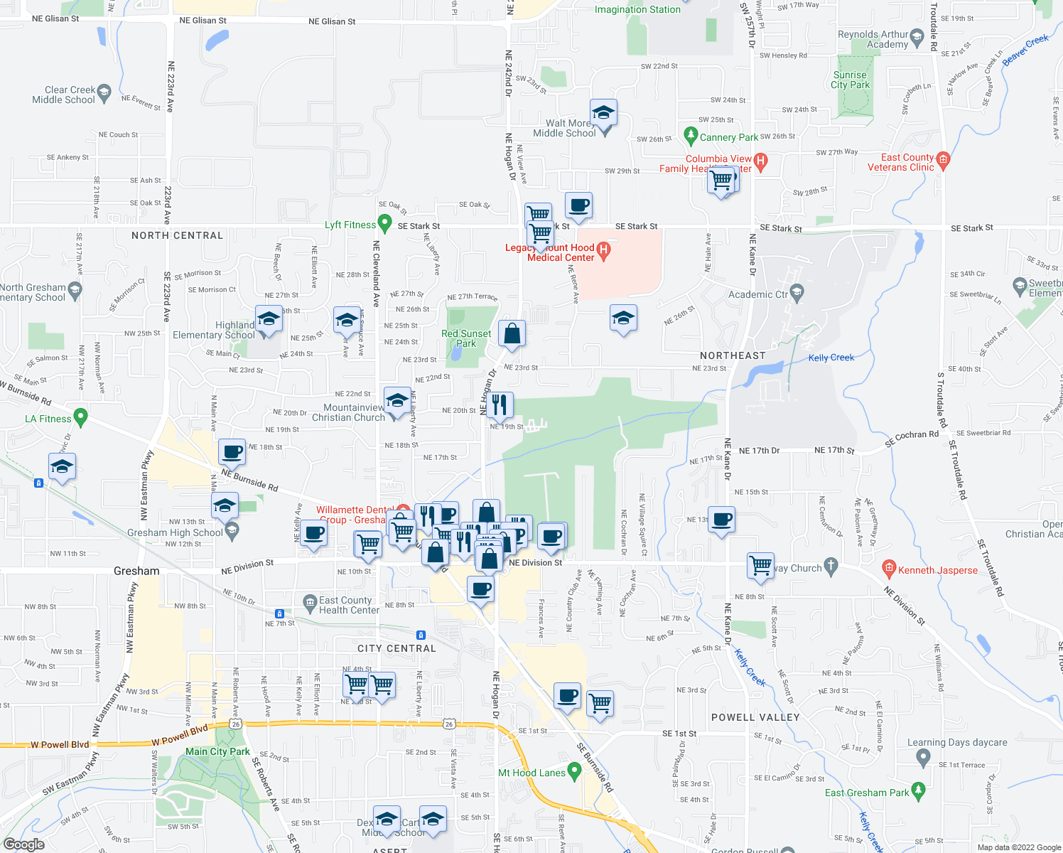 map of restaurants, bars, coffee shops, grocery stores, and more near 1818 NE 19th St in Gresham