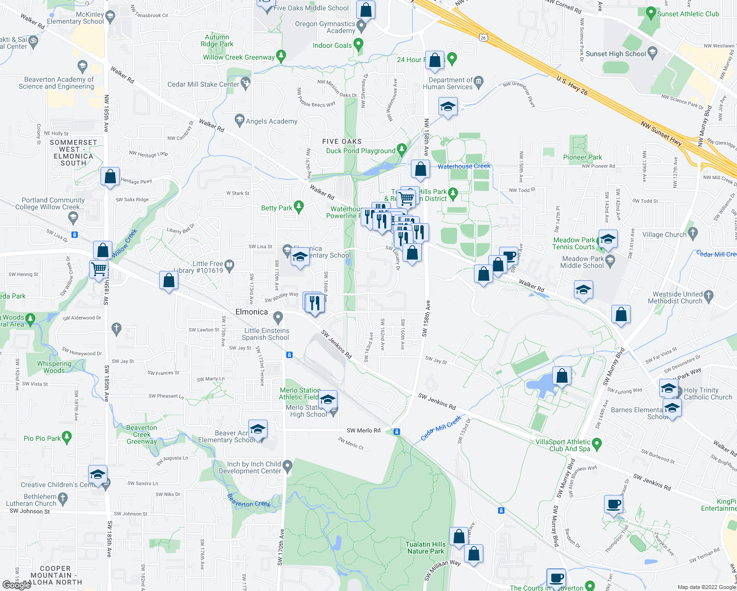 map of restaurants, bars, coffee shops, grocery stores, and more near 920 Southwest 163rd Avenue in Beaverton