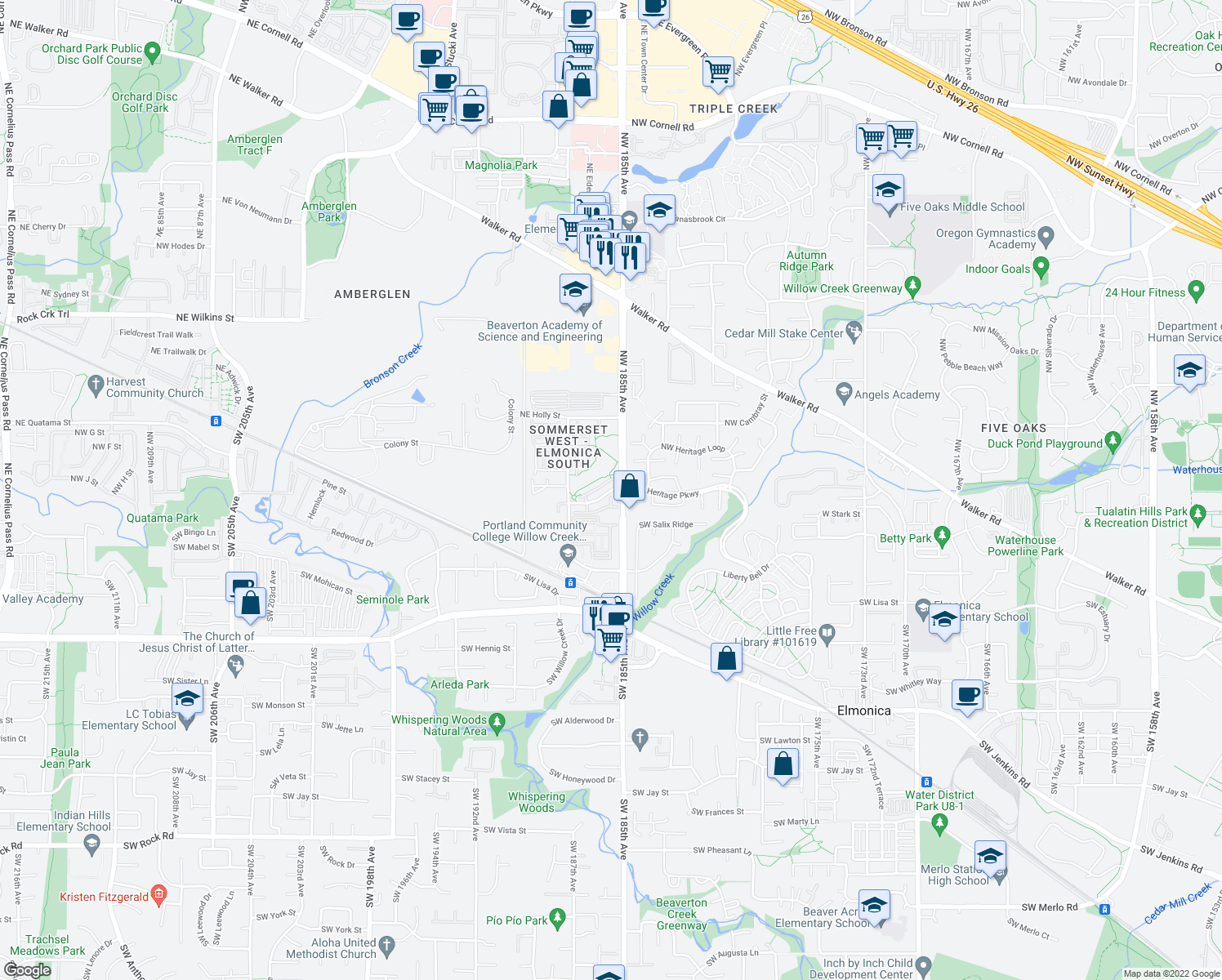 map of restaurants, bars, coffee shops, grocery stores, and more near 18599 Northwest Heritage Parkway in Hillsboro