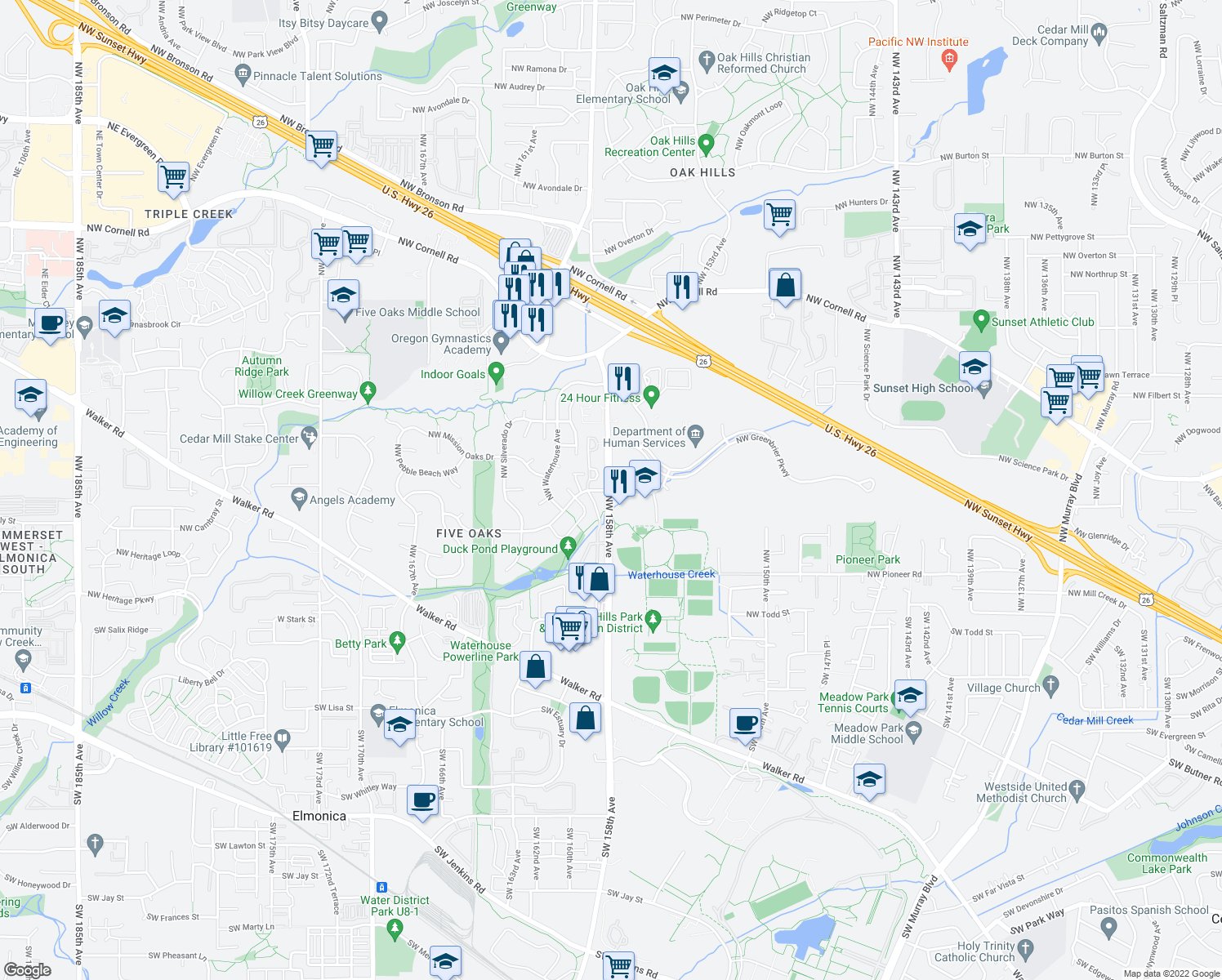 map of restaurants, bars, coffee shops, grocery stores, and more near NW 158th Ave & NW Blueridge Dr in Beaverton