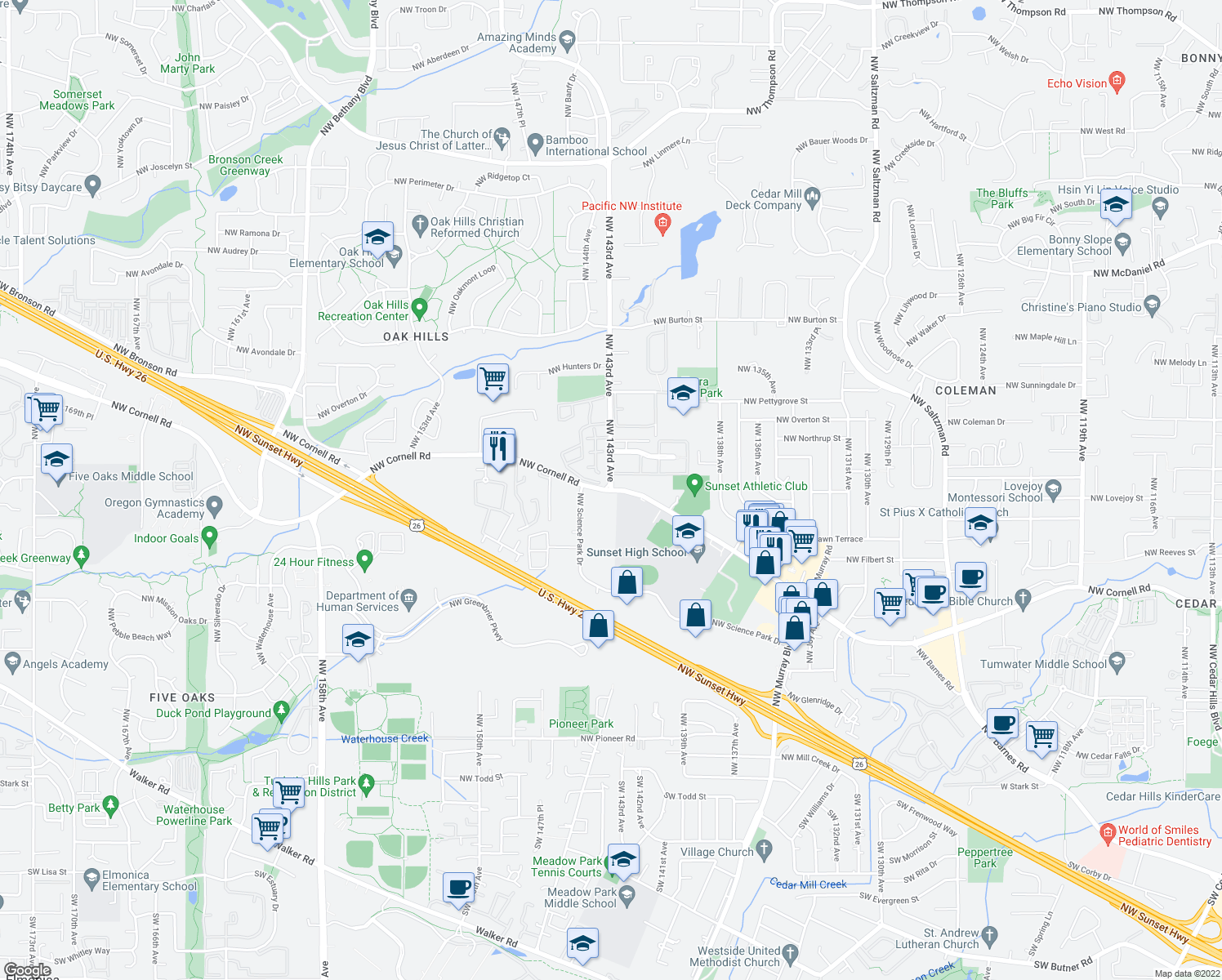 map of restaurants, bars, coffee shops, grocery stores, and more near NW Cornell Rd & NW 143rd Ave in Beaverton
