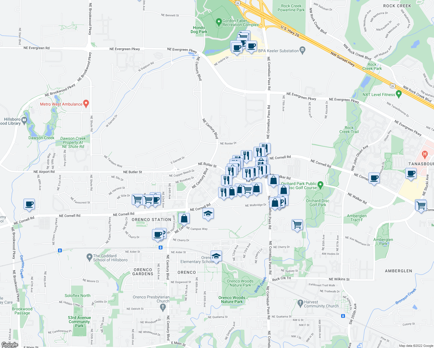 map of restaurants, bars, coffee shops, grocery stores, and more near 22796-22850 Northeast Butler Street in Hillsboro
