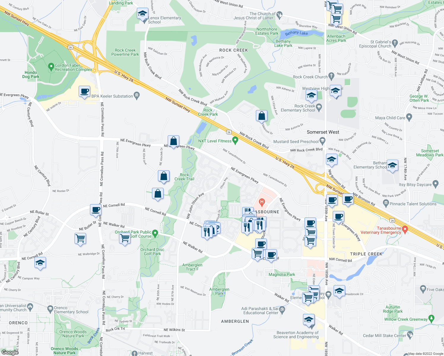 map of restaurants, bars, coffee shops, grocery stores, and more near 20205 NW Galliard Loop in Hillsboro